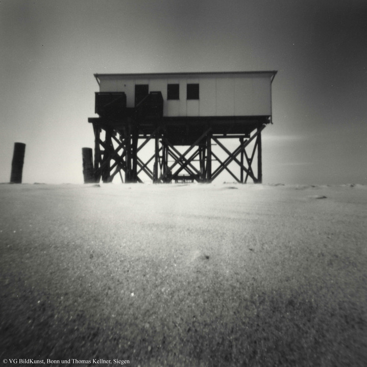 "Thomas Kellner: St. Peter Ording 13/4, 1996, bw-print, 17,5x17,5cm/6,8""x6,8"", edition 5"