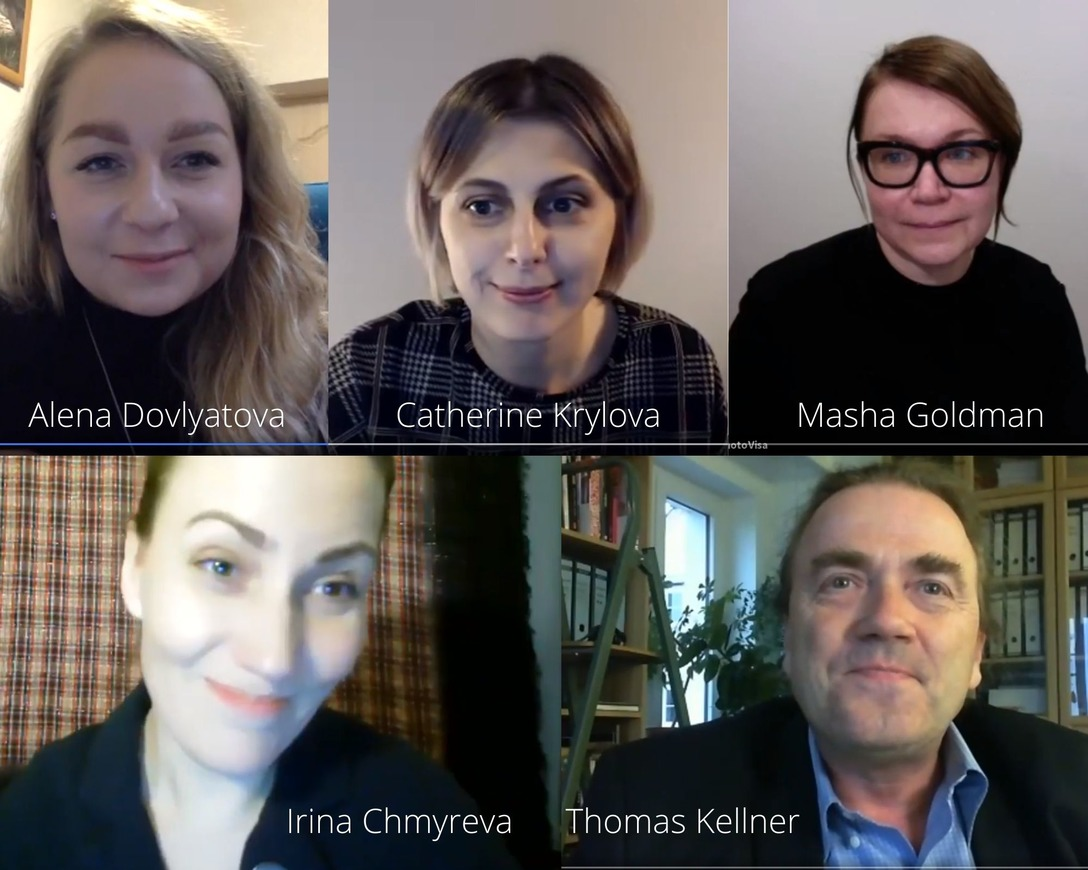 Zoom Meeting Photovisa, Russia. Picture: from left to right: Alyona Dovlyatova (translation) , Catherine Krylova (curator), Masha Goldman (director photovisa), Irina Chmyreva (artistic director photovisa), Thomas Kellner (artist & curator, Siegen)