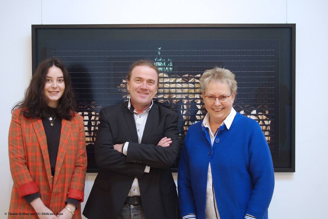 Art historian Chiara Bohn, Thomas Kellner and the first chairperson of the Kunstverein Nümbrecht Birgit Ludwig-Weber